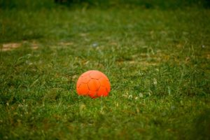 Orange ball left on football pitch following club dormancy